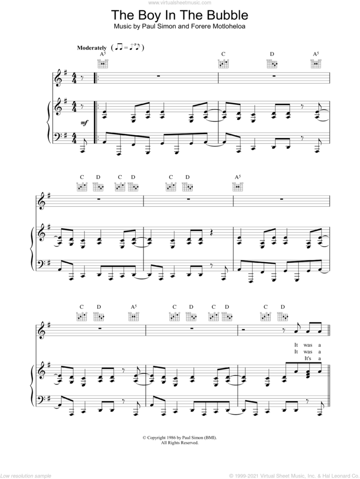 The Boy In The Bubble sheet music for voice, piano or guitar by Paul Simon, intermediate skill level