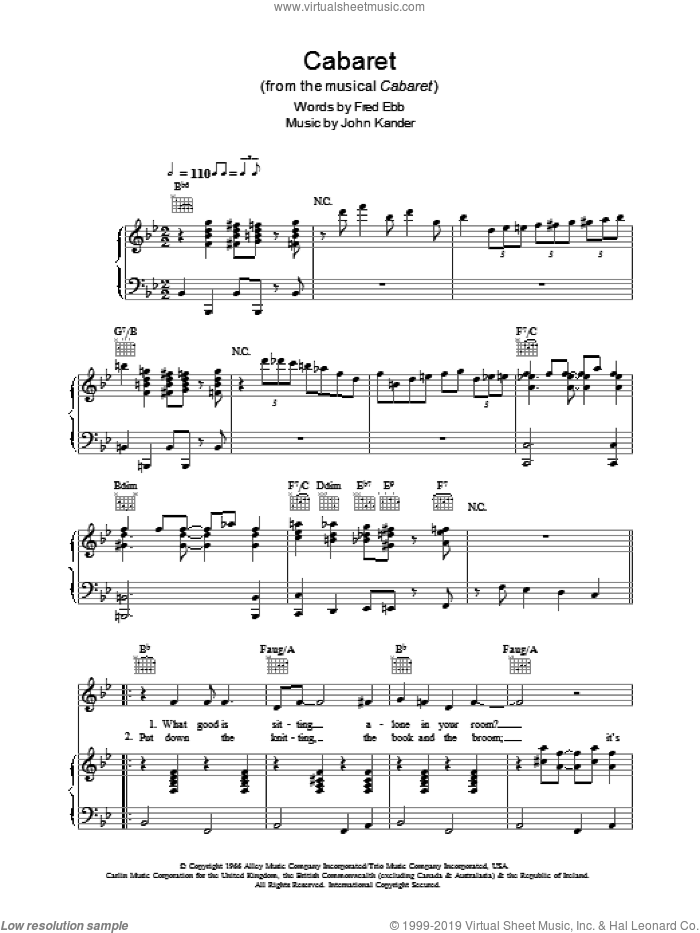 Cabaret sheet music for voice, piano or guitar by Louis Armstrong, Cabaret (Musical), Kander & Ebb, Fred Ebb and John Kander, intermediate skill level