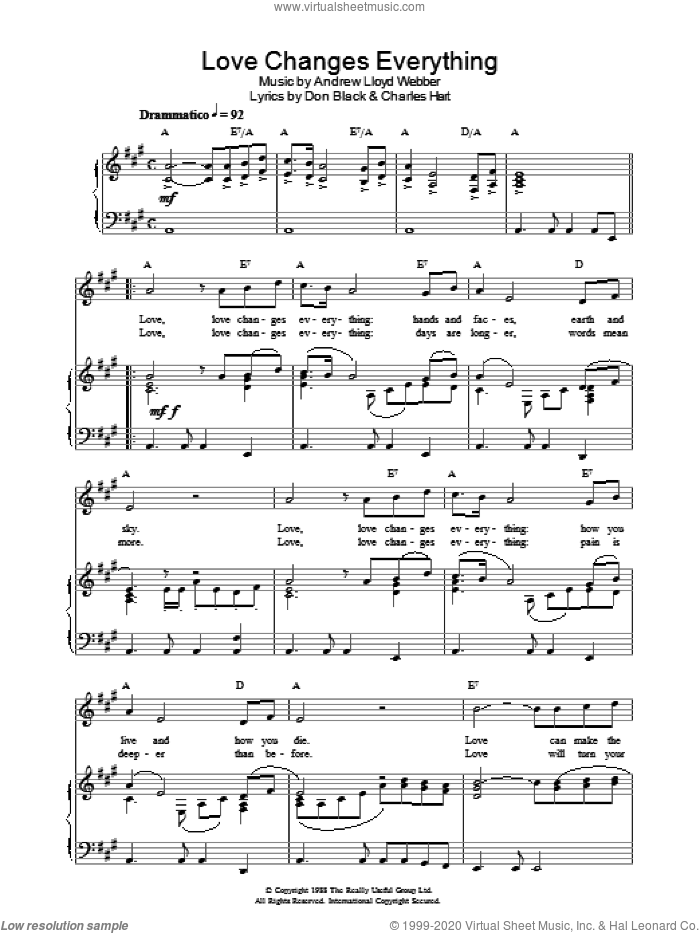 Love Changes Everything (from Aspects of Love) sheet music for voice, piano or guitar by Andrew Lloyd Webber, Aspects Of Love (Musical), Charles Hart and Don Black, intermediate skill level