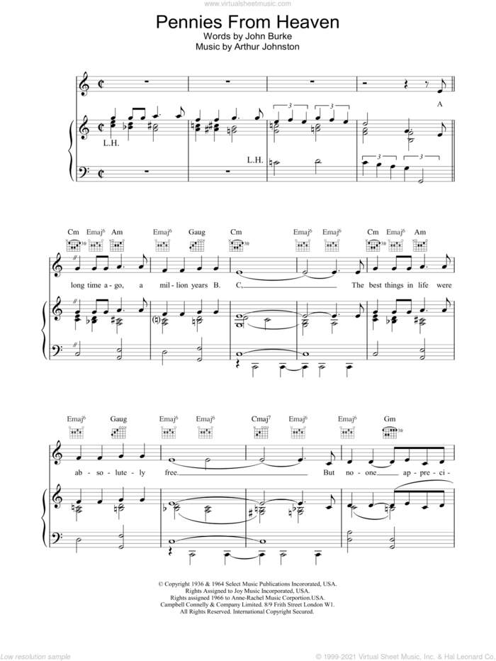 Pennies From Heaven sheet music for voice, piano or guitar by Bing Crosby, Arthur Johnston and John Burke, intermediate skill level