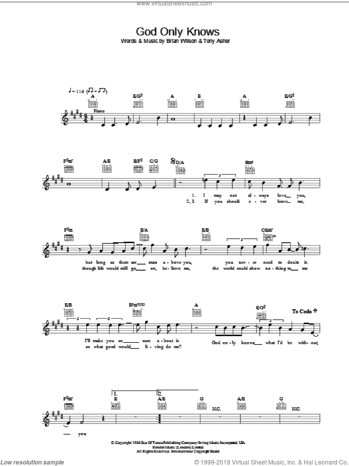God Only Knows sheet music for voice and other instruments (fake book) by The Beach Boys, intermediate skill level