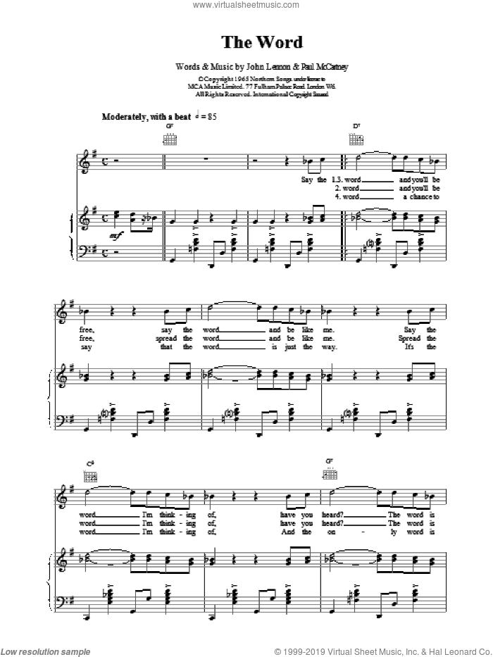 The Word sheet music for voice, piano or guitar by The Beatles