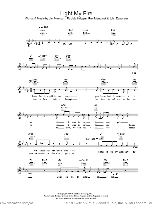 Light My Fire sheet music for voice and other instruments (fake book) by Will Young