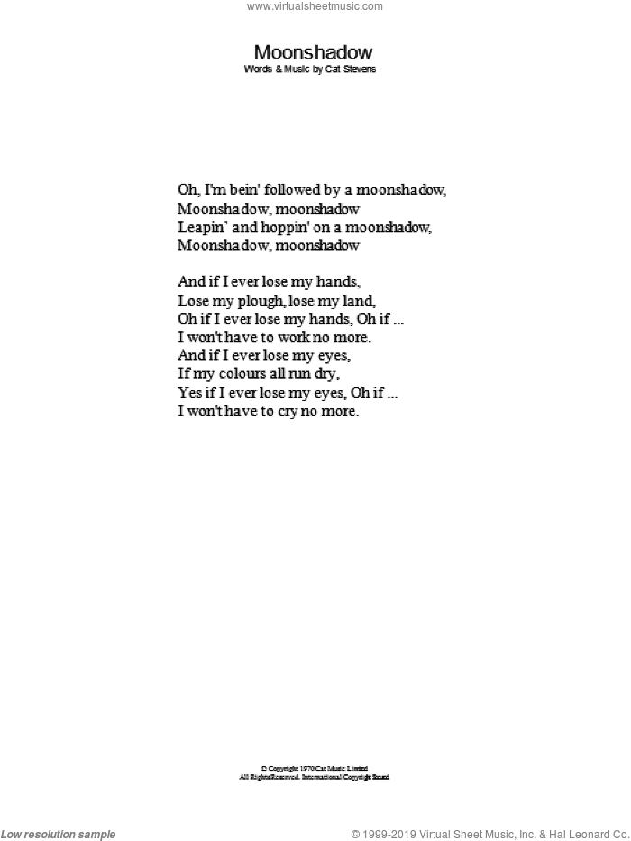 Moonshadow sheet music for voice and other instruments (lyrics only) by Cat Stevens, intermediate skill level