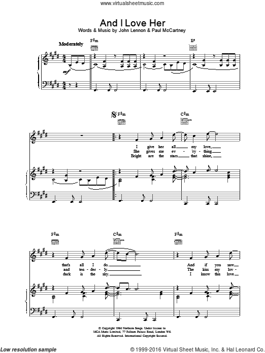 And I Love Her sheet music for voice, piano or guitar by The Beatles. Score Image Preview.