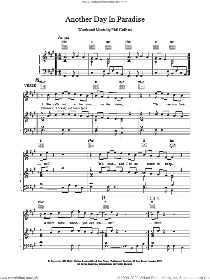Another Day In Paradise sheet music for voice, piano or guitar by Phil Collins