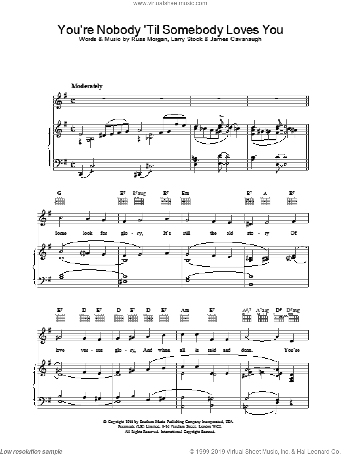 You're Nobody 'Til Somebody Loves You sheet music for voice, piano or guitar by Nat King Cole, Dean Martin, Frank Sinatra, James Cavanaugh, Larry Stock and Russ Morgan, intermediate skill level