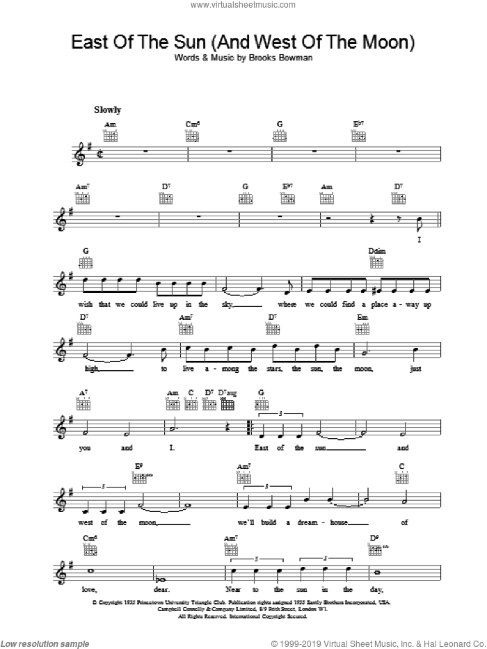 East Of The Sun (And West Of The Moon) sheet music for voice and other instruments (fake book) by Brooks Bowman. Score Image Preview.