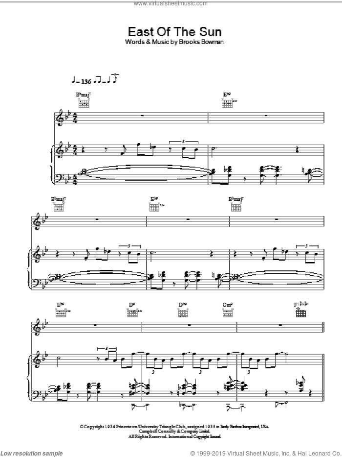 East Of The Sun sheet music for voice, piano or guitar by Diana Krall. Score Image Preview.