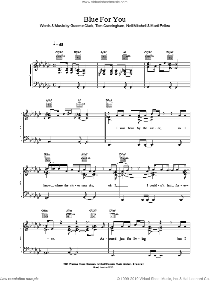 Blue For You sheet music for voice, piano or guitar by Wet Wet Wet. Score Image Preview.