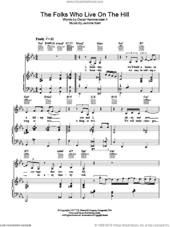 The Folks Who Live On The Hill sheet music for voice, piano or guitar by Diana Krall, intermediate voice, piano or guitar. Score Image Preview.
