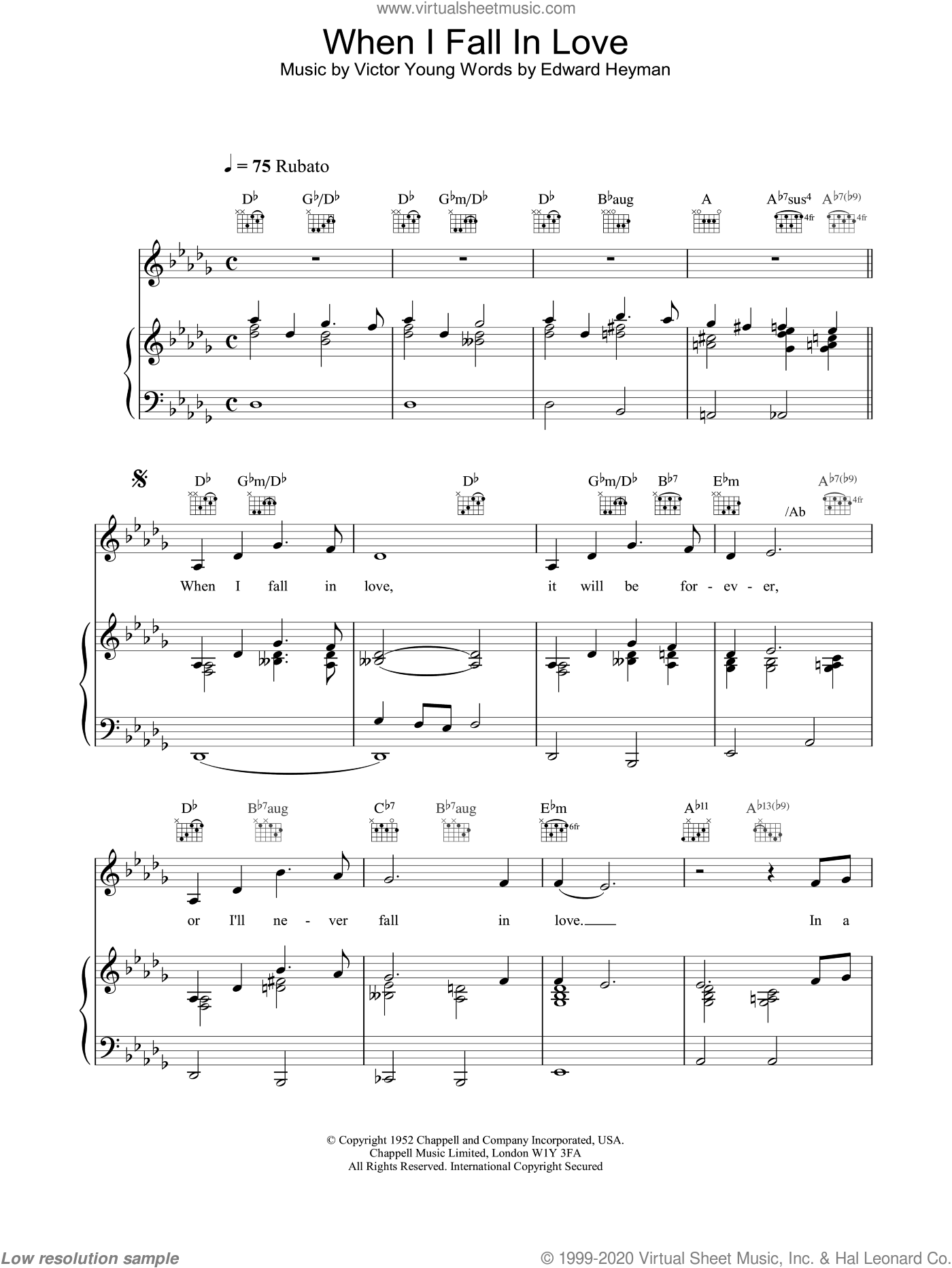 When I Fall In Love sheet music for voice, piano or guitar by Celine Dion, intermediate skill level