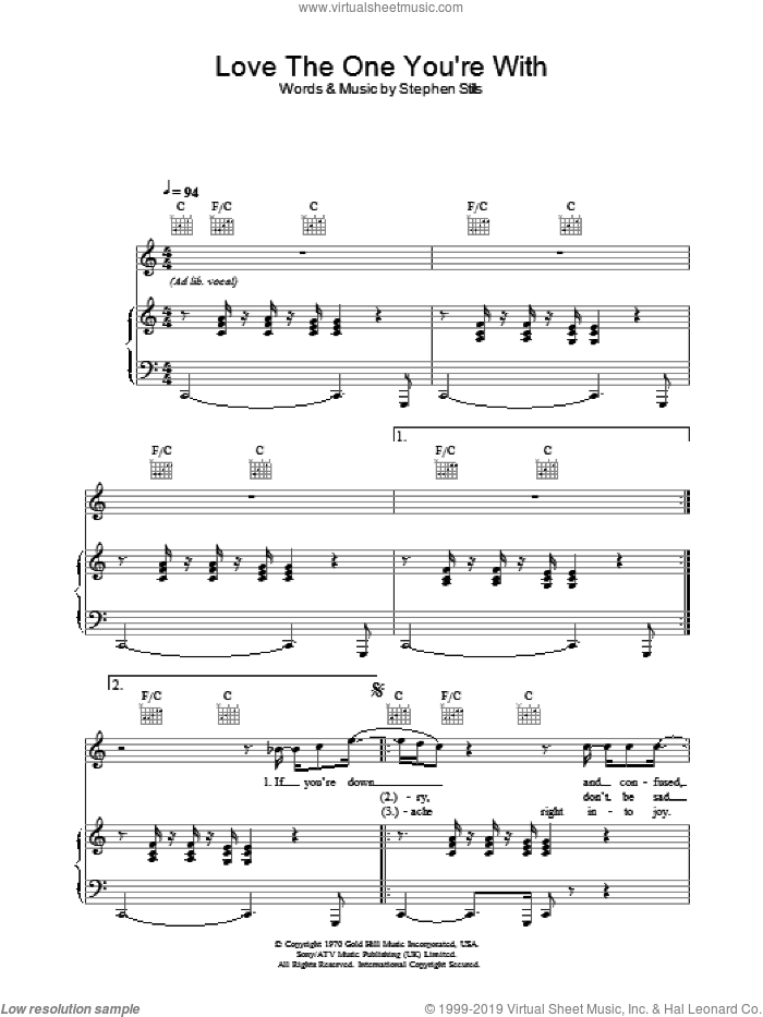 Love The One You're With sheet music for voice, piano or guitar by Will Young, intermediate. Score Image Preview.
