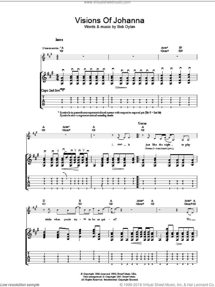 Visions Of Johanna sheet music for guitar (tablature) by Bob Dylan, intermediate guitar (tablature). Score Image Preview.
