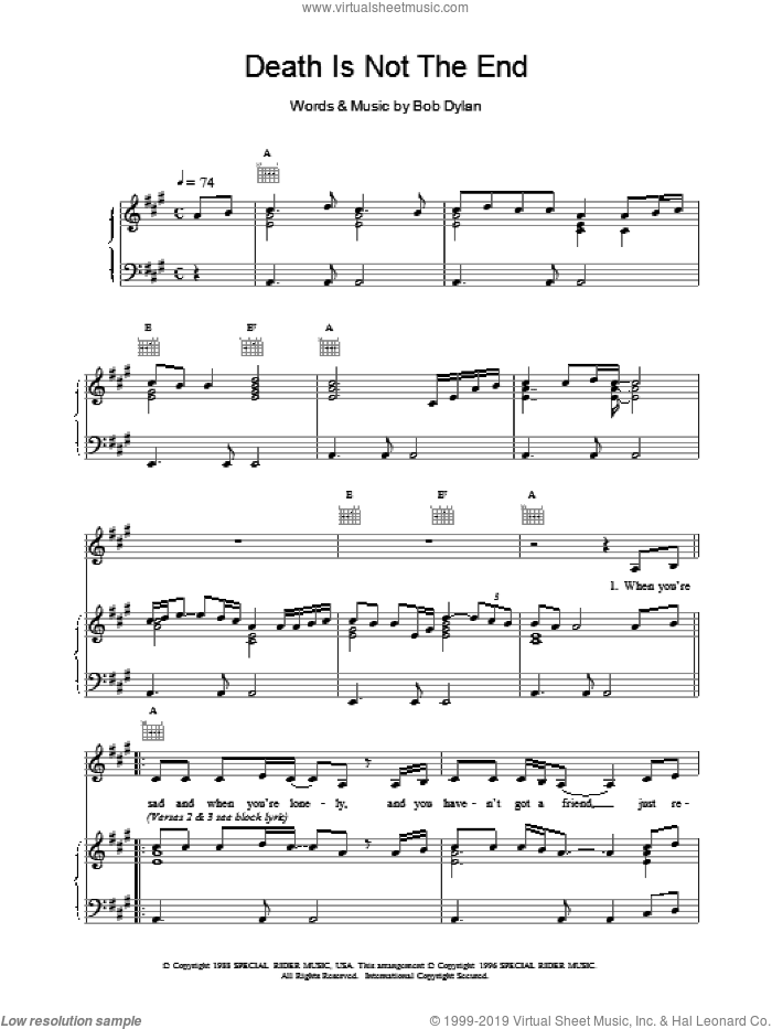 Death Is Not The End sheet music for voice, piano or guitar by Bob Dylan and Nick Cave, intermediate skill level