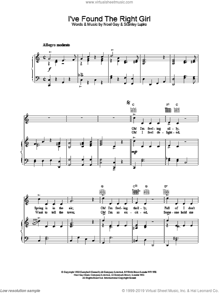 I've Found The Right Girl sheet music for voice, piano or guitar by Noel Gay and Stanley Lupino, intermediate skill level