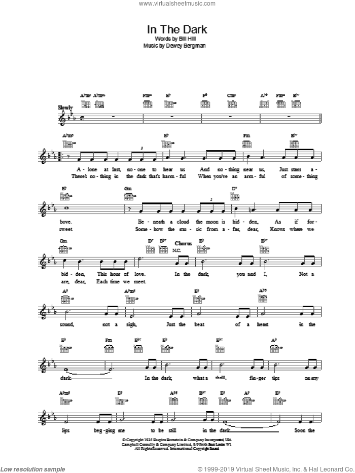 In The Dark sheet music for voice and other instruments (fake book) by Freddie Martin. Score Image Preview.