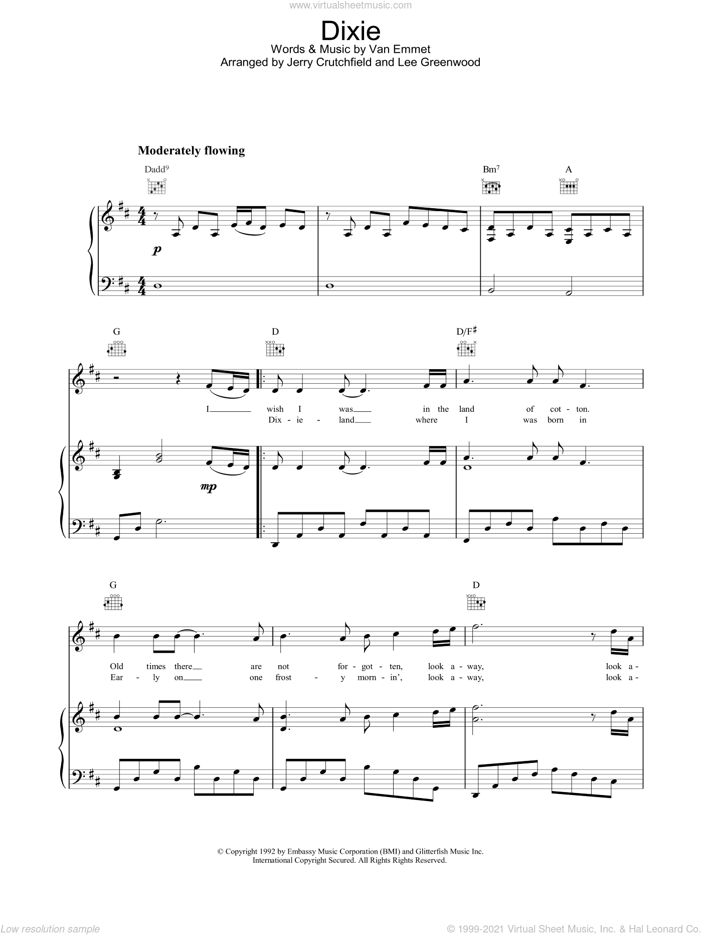 Dixie sheet music for voice, piano or guitar by Lee Greenwood, intermediate skill level