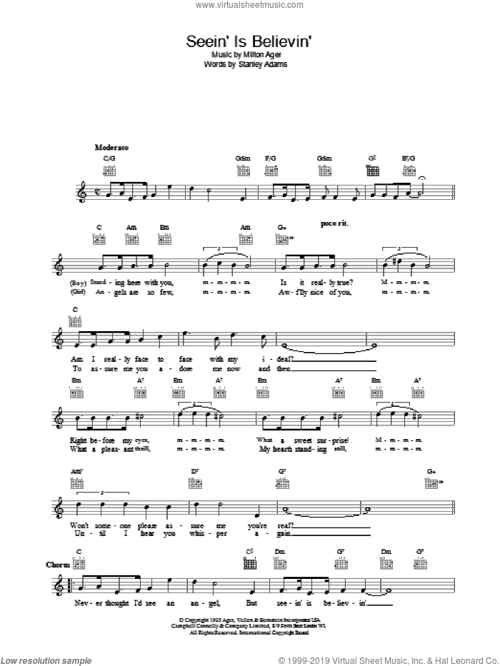 Seein' Is Believin' sheet music for voice and other instruments (fake book) by Lew Stone, intermediate skill level