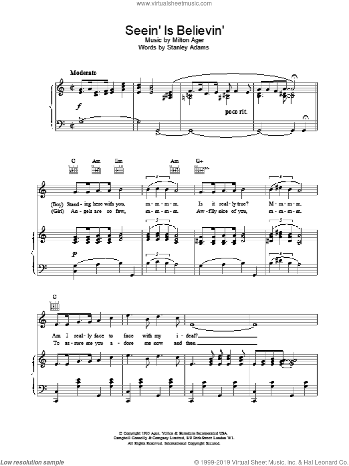 Seein' Is Believin' sheet music for voice, piano or guitar by Lew Stone. Score Image Preview.
