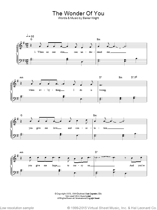 The Wonder Of You sheet music for piano solo (chords) by Baker Knight