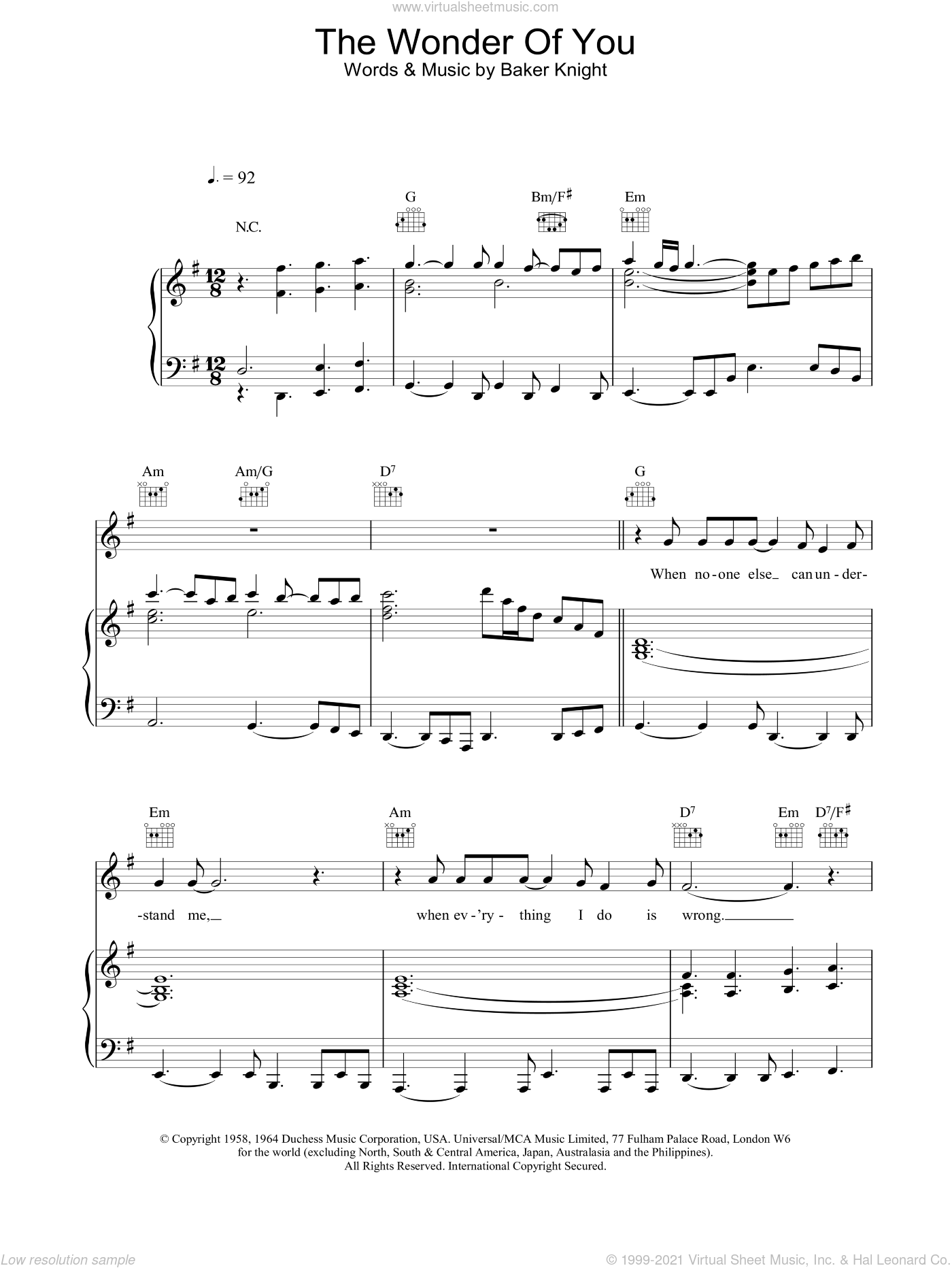 The Wonder Of You sheet music for voice, piano or guitar by Baker Knight