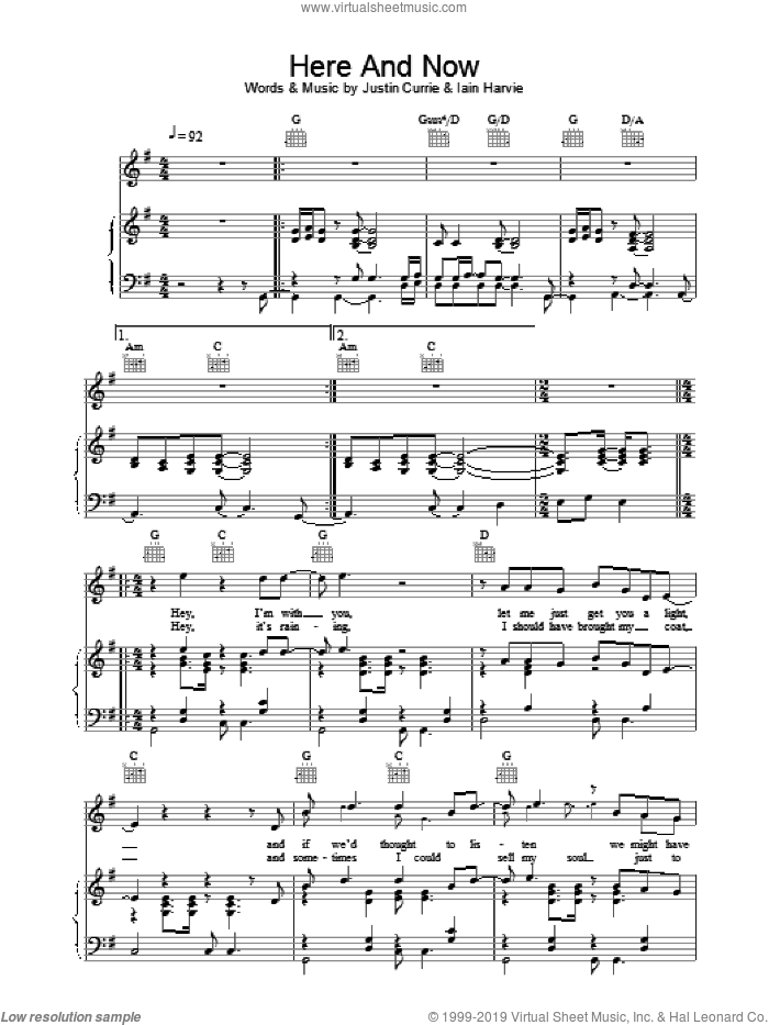 Here And Now sheet music for voice, piano or guitar by Del Amitri