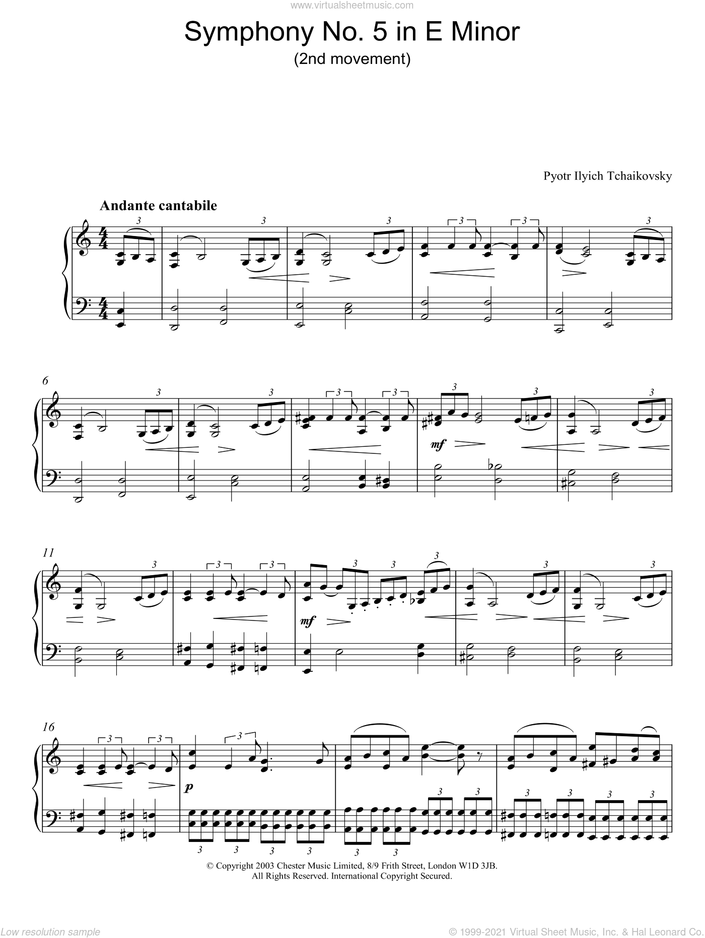 Symphony No. 5 in E Minor (2nd movement) sheet music for piano solo by Pyotr Ilyich Tchaikovsky