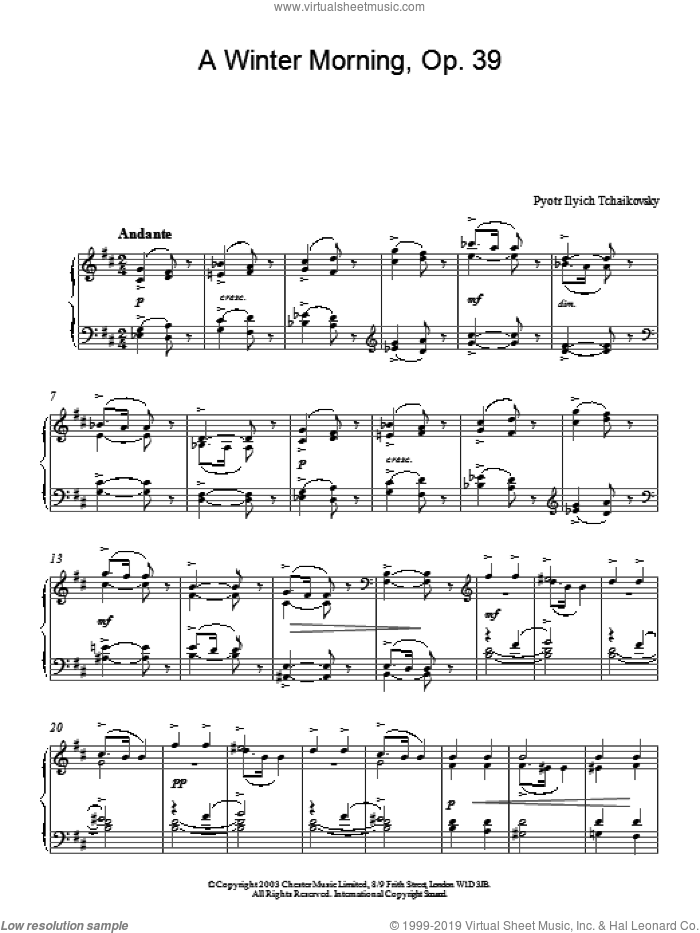 A Winter Morning, Op. 39 sheet music for piano solo by Pyotr Ilyich Tchaikovsky, classical score, intermediate piano. Score Image Preview.