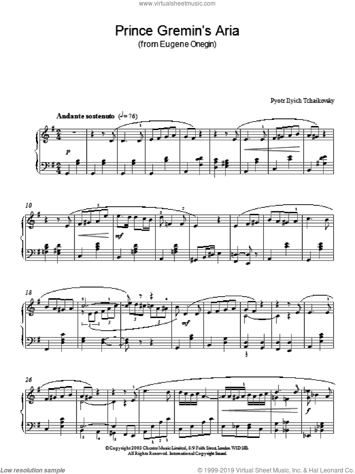 Prince Gremin's Aria (from Eugene Onegin) sheet music for piano solo by Pyotr Ilyich Tchaikovsky, classical score, intermediate skill level