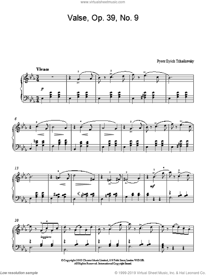 Valse, Op. 39, No. 9 sheet music for piano solo by Pyotr Ilyich Tchaikovsky, classical score, intermediate skill level