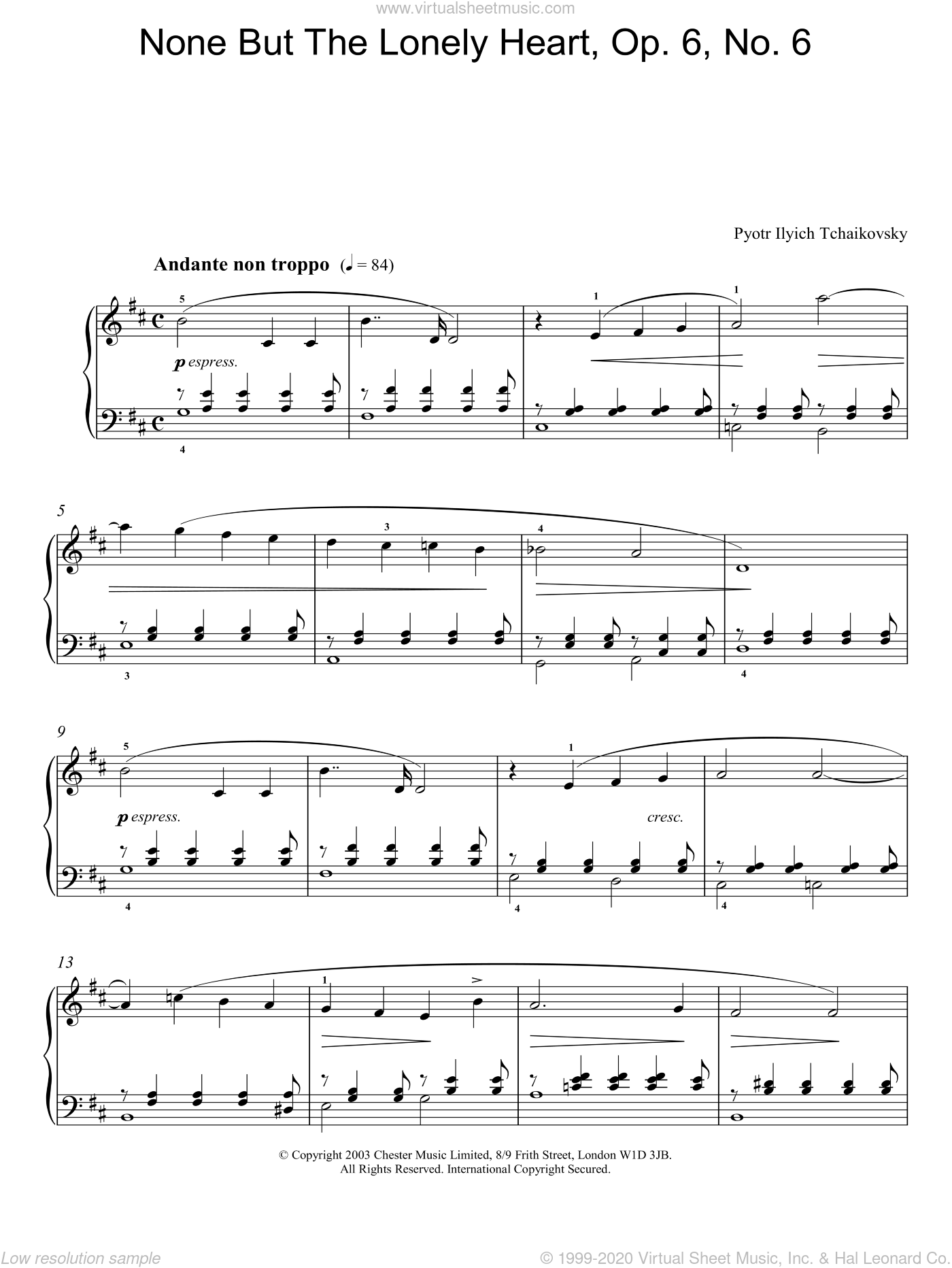 None But The Lonely Heart, Op. 6, No. 6 sheet music for piano solo by Pyotr Ilyich Tchaikovsky, classical score, intermediate skill level