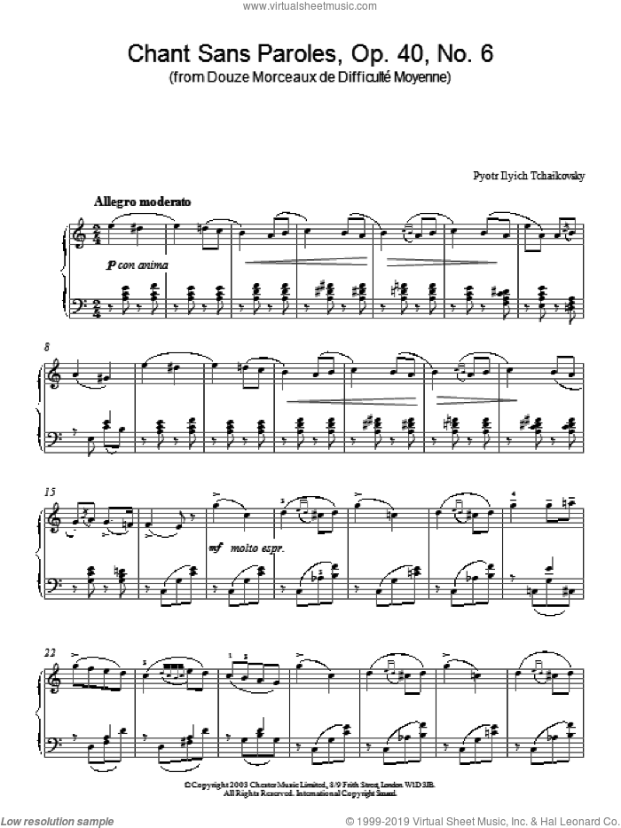 Chant Sans Paroles, Op. 40, No. 6 (from Douze Morceaux de Difficult Moyenne) sheet music for piano solo by Pyotr Ilyich Tchaikovsky, classical score, intermediate skill level
