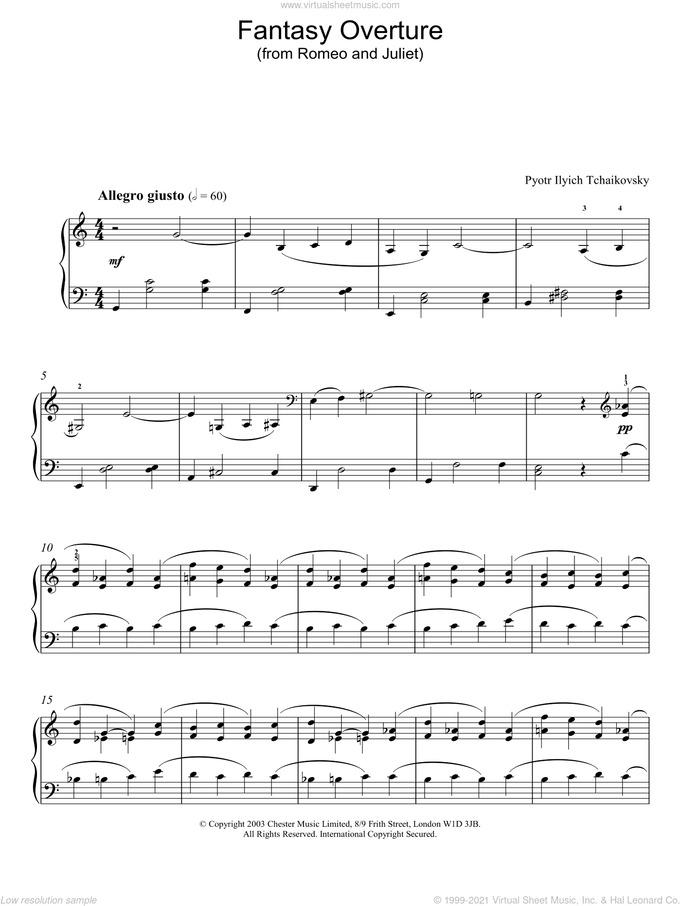 Fantasy Overture (from Romeo And Juliet) sheet music for piano solo by Pyotr Ilyich Tchaikovsky. Score Image Preview.