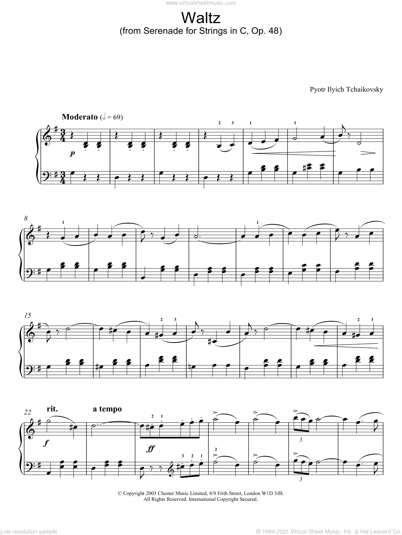 Waltz (from Serenade for Strings In C, Op. 48) sheet music for piano solo by Pyotr Ilyich Tchaikovsky, classical score, intermediate skill level