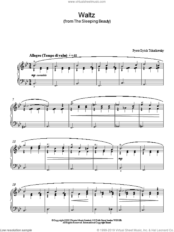 Waltz (from The Sleeping Beauty) sheet music for piano solo by Pyotr Ilyich Tchaikovsky, classical score, intermediate piano. Score Image Preview.