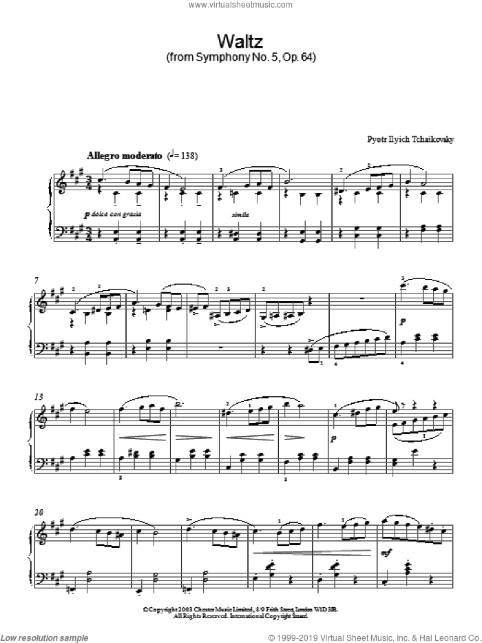 Waltz (from Symphony No. 5, Op. 64) sheet music for piano solo by Pyotr Ilyich Tchaikovsky. Score Image Preview.