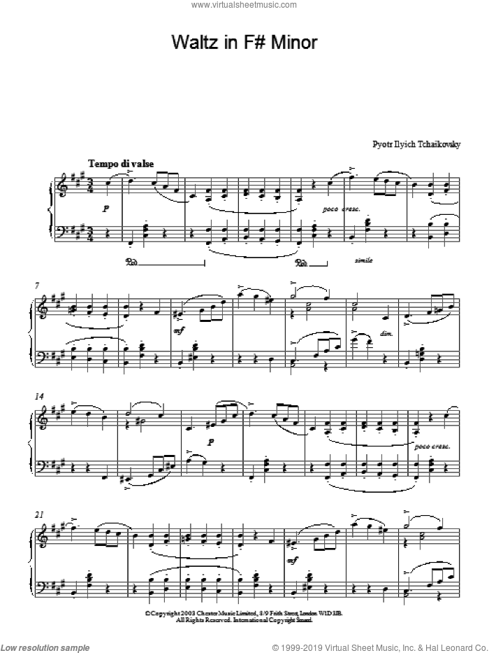 Waltz in F# Minor sheet music for piano solo by Pyotr Ilyich Tchaikovsky, classical score, intermediate skill level
