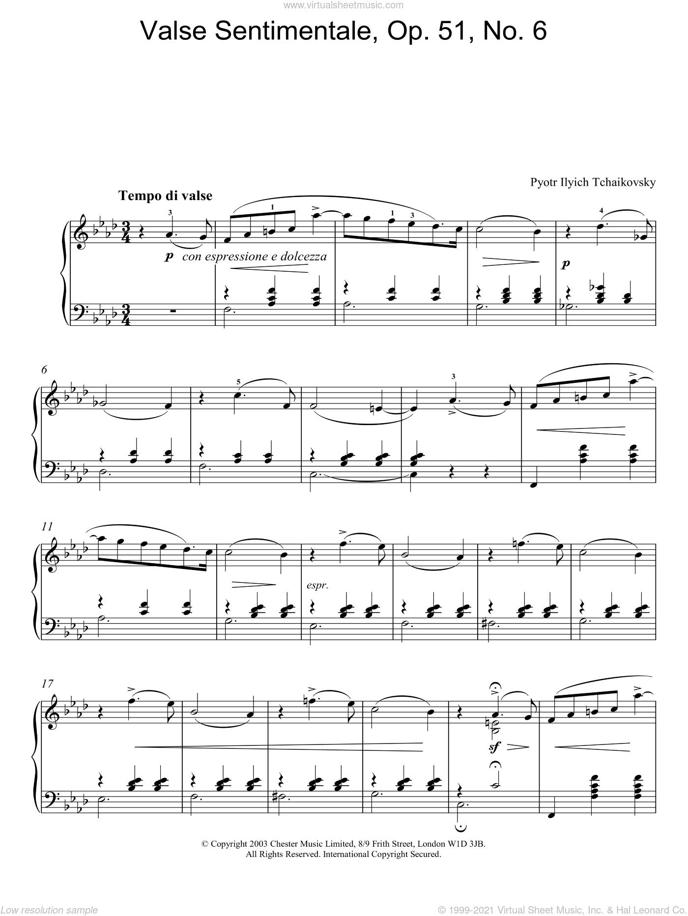 Valse Sentimentale, Op. 51, No. 6 sheet music for piano solo by Pyotr Ilyich Tchaikovsky, classical score, intermediate