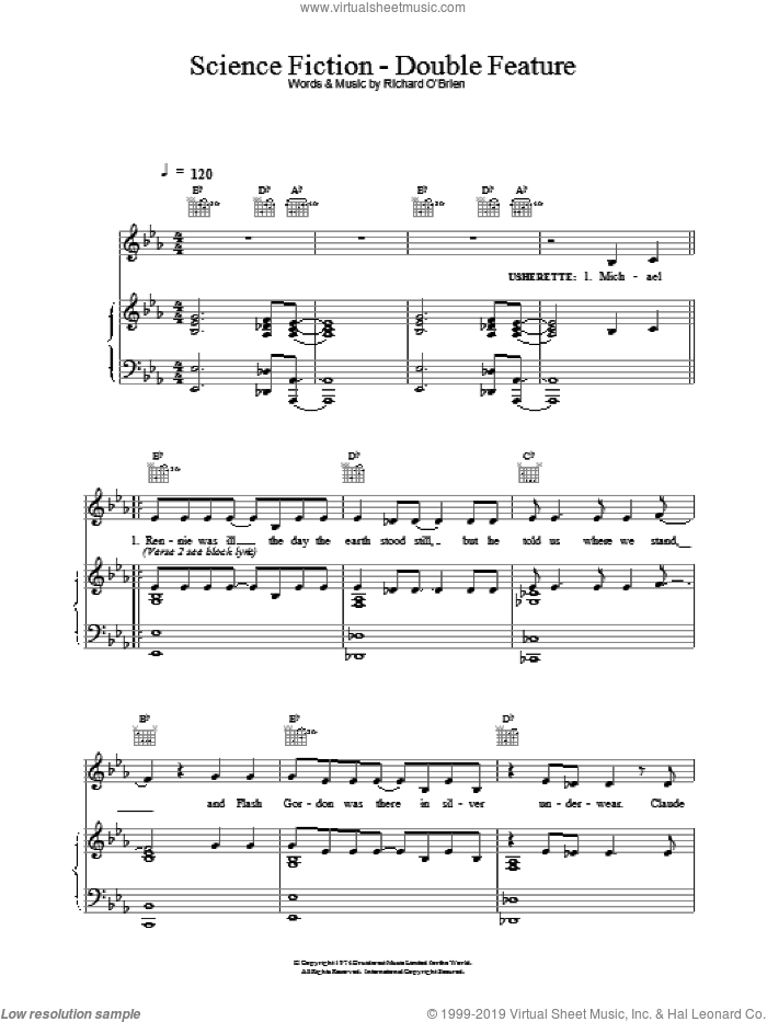 Science Fiction / Double Feature sheet music for voice, piano or guitar by Richard O'Brien and The Rocky Horror Picture Show, intermediate skill level