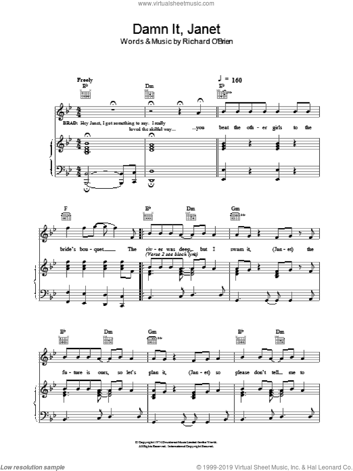 Damn It, Janet sheet music for voice, piano or guitar by Richard O'Brien. Score Image Preview.