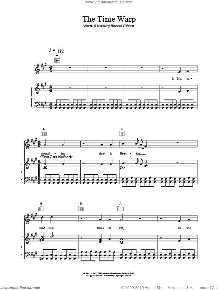 Time Warp sheet music for voice, piano or guitar by Richard O'Brien