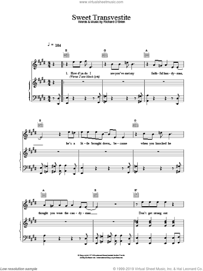 Sweet Transvestite sheet music for voice, piano or guitar by Richard O'Brien, intermediate skill level