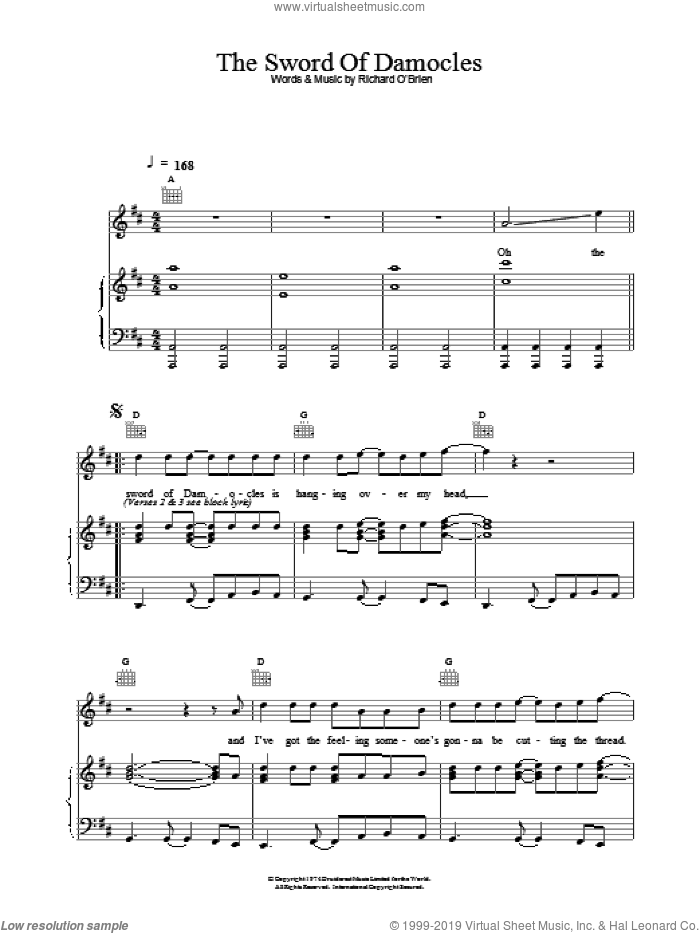 O'Brien - The Sword Of Damocles sheet music for voice, piano or guitar