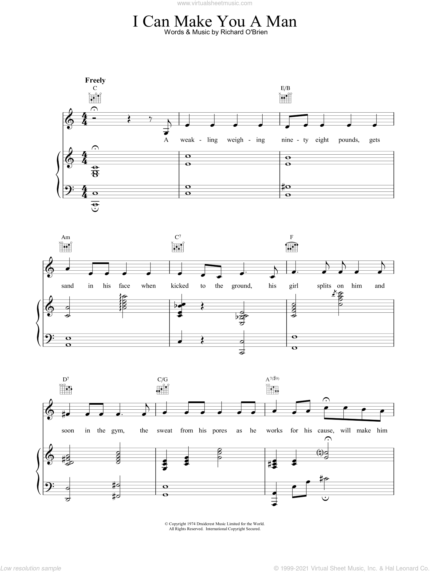 I Can Make You A Man sheet music for voice, piano or guitar by Richard O'Brien. Score Image Preview.