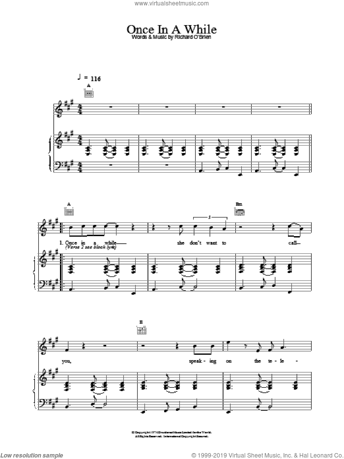Once In A While sheet music for voice, piano or guitar by Richard O'Brien. Score Image Preview.