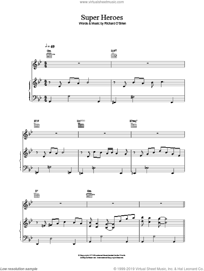 Super Heroes sheet music for voice, piano or guitar by Richard O'Brien, intermediate. Score Image Preview.