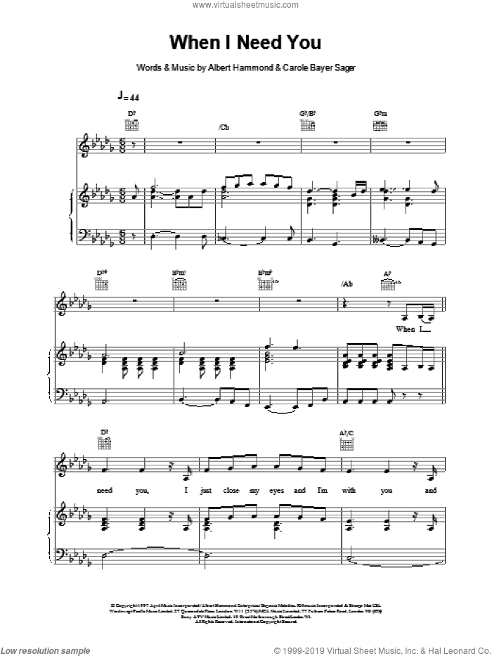 When I Need You sheet music for voice, piano or guitar by Celine Dion. Score Image Preview.