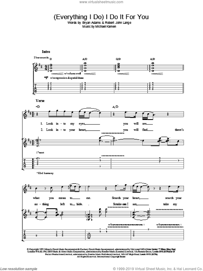(Everything I Do) I Do It For You sheet music for guitar (tablature) by Bryan Adams