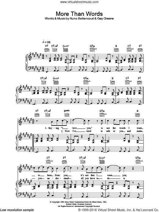 More Than Words sheet music for voice, piano or guitar by Extreme. Score Image Preview.